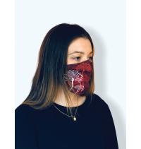 Masque protection covid 19 Fleurs bordeaux